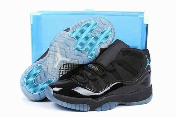 2014 New Release Air Jordan XI 11 Mens Shoes Black Blue [nike_CACE5899] - $85…