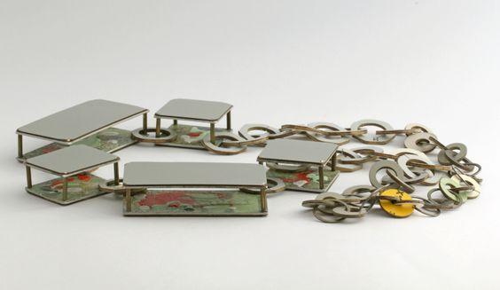 Scaffold Necklace by Vanessa Arthur - Laminate, aluminium, 925 silver, brass, enamel paint
