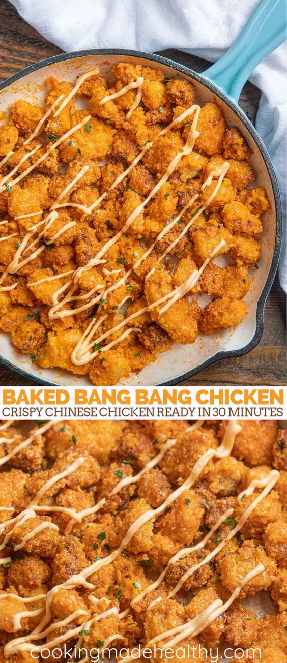 Baked Bang Bang Chicken is a crispy chicken Chinese restaurant favorite served in a delicious spicy homemade sauce, ready in 30 minutes. #bangbangchicken #bakedchiken #bakedbangbangchicken #chickenrecipes #chineserecipes #chinesefood #chinese #easychickenrecipes #cookingmadehealthy