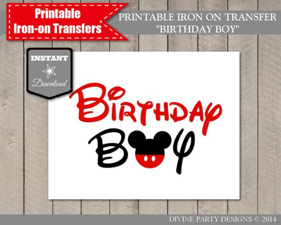 Instant Download Print At Home Mouse Birthday Boy Iron On