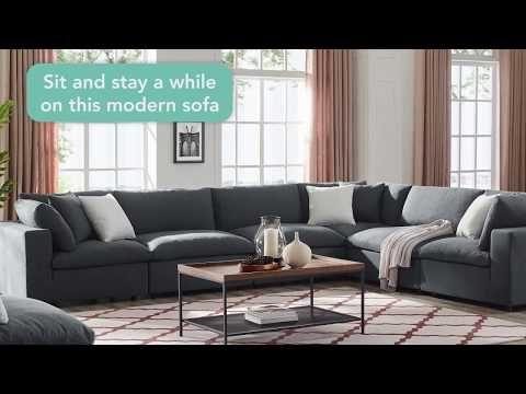 Modway Commix Down Filled Overstuffed 5 Piece Sectional Sofa Set Gray Sectional Sofa Modern Sofa Sectional Sofa Set