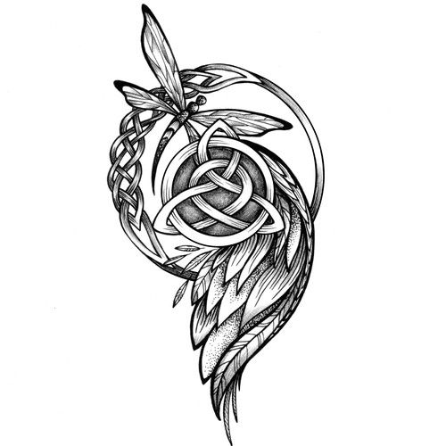 Angel Wing Celtic Design Celtic Knot With A Dragonfly Or Butterfly Incorporated Matching Cousin Tatto Matching Cousin Tattoos Cousin Tattoos Celtic Designs