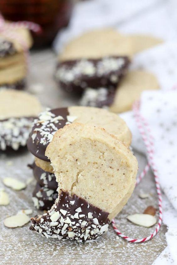 Chocolate Dipped Espresso Shortbread Cookies