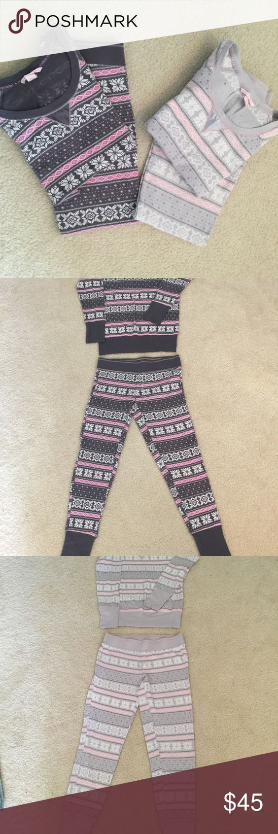 Victoria Secrets thermal pj's. 2 sets 2 sets of Victoria Secrets thermal pj's. In good condition. Selling both sets for $45. Willing to separate for $24 a set. Victoria's Secret Intimates & Sleepwear Pajamas