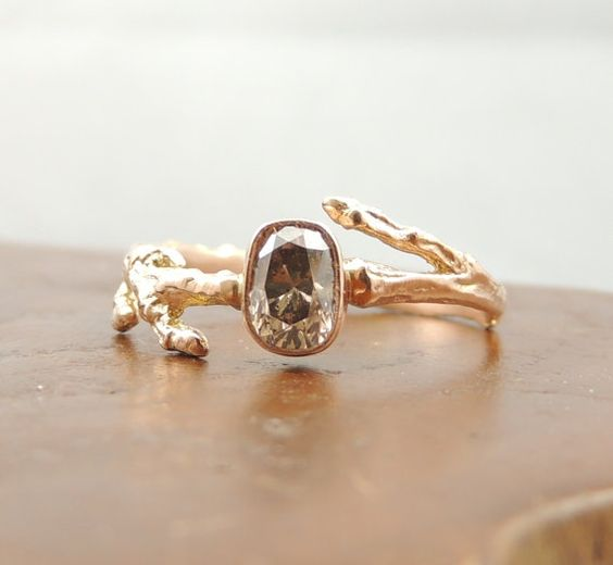 Pink Diamond 14k Rose Gold Branch Ring by PointNoPointStudio, $2200.00