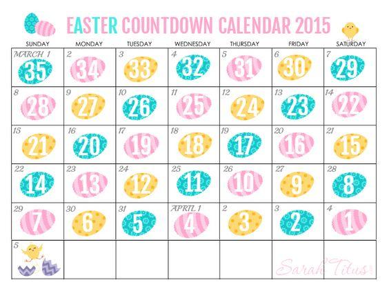 Calendar Easter : Free printable countdown easter calendar sarah