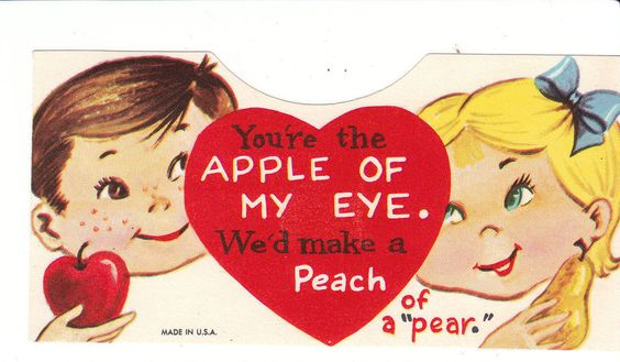 Vintage Valentine Card Boy and Girl Apple of My Eye Unused Envelope Die Cut