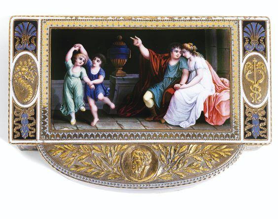 TABATIÈRE EN OR ET ÉMAIL, GENÈVE, VERS 1805 A GOLD AND ENAMEL SNUFF BOX, GENEVA, CIRCA 1805. Sotheby's: