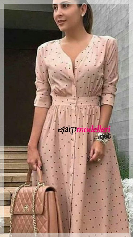 Yeni Sezon Puntolu Gunluk Elbise Modeli Elbise Modelleri Elbise Gomlek Elbise