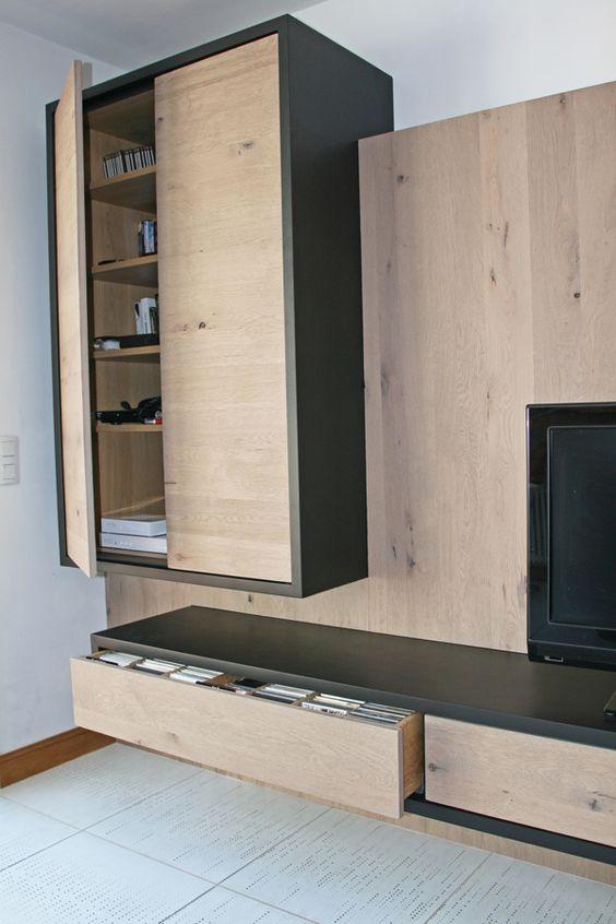 Meuble tv hi fi en ch ne massif blanchi noeud et medium laqu noir tiroi - Meuble tv en chene blanchi ...