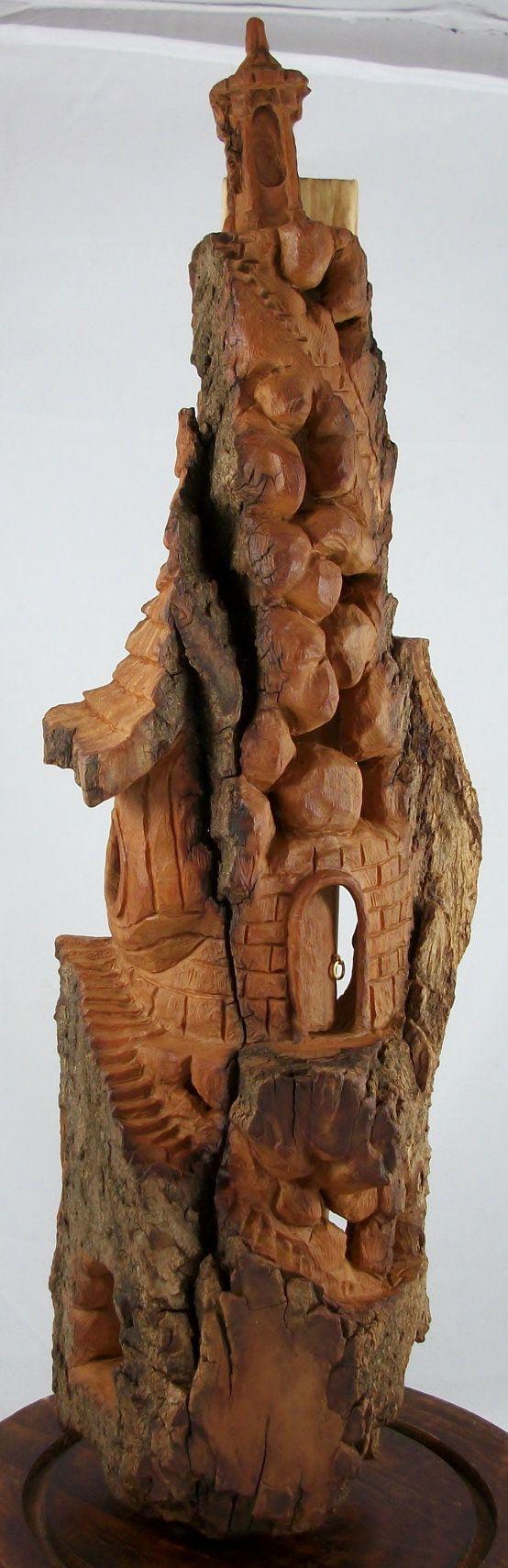 Lighthouse mystical fairy house hand carved cottonwood
