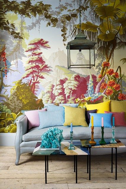 The best living room I have ever seen. its like having the outside indoors, an oriental porch style. #colours #interiors
