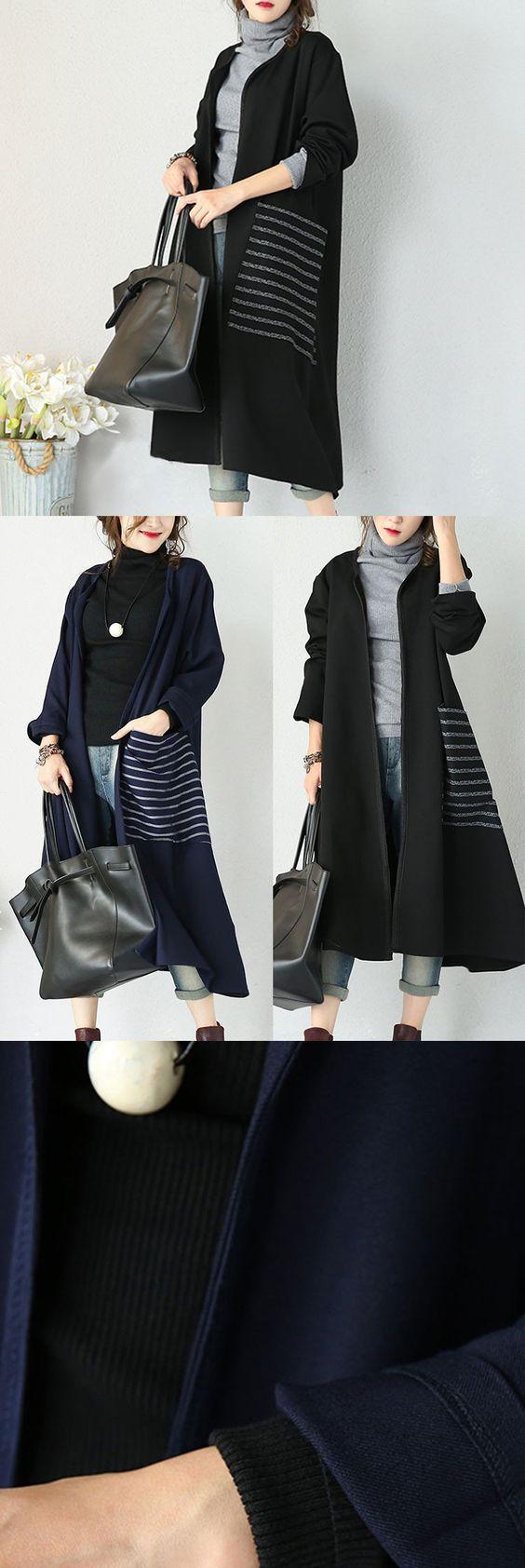 Black Stretch Cotton Casual Coat