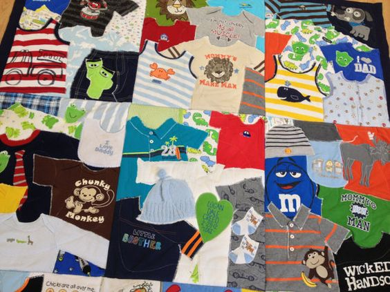 What a great idea: custom quilt using blankets and clothing from their first year <3