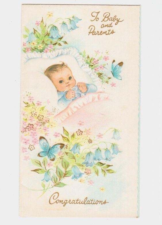 Details About Vintage New Baby Embossed Card Congratulations