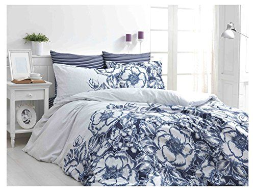 Dose Of Modern Marjorie Blue Satin Double Quilt Cover Set Eu It 110bhr23417 Blue White Duvet Cover Sets Duvet Covers Blue Bedding