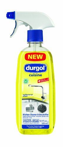 Durgol Cuisine Kitchen Cleaner, 16.9-Ounce Spray Bottle by Frieling USA. Save 6 Off!. $8.50. Especially formulated, antibacterial Durgol Cuisine brings brilliant shine to the kitchen. The decalcifying foam removes even stubborn grease, grime, dirt, fat and calcium (lime) build-up. No streaks, either. All it leaves behind is a fresh citrus scent. Perfect for use on sink, counter, tiles and stovetop. 16.9-ounce Spray Bottle.