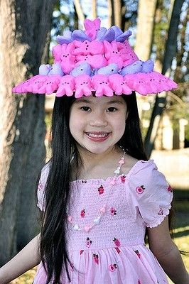 HOT PINK HAT edible peep easter hat super funny DIY project