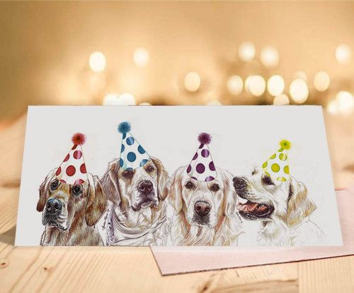 Single Luxury Long Golden Retriever Birthday Card Birthday