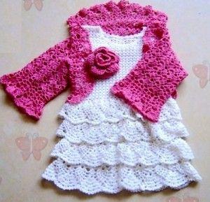 Vestido, Capelet y Bolero para una niña - libre de crochet patrón #