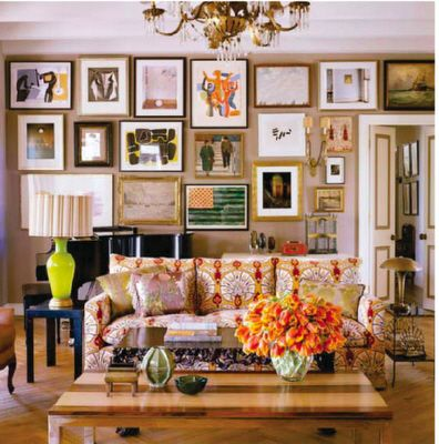 Love the busy in this living room, and the colors