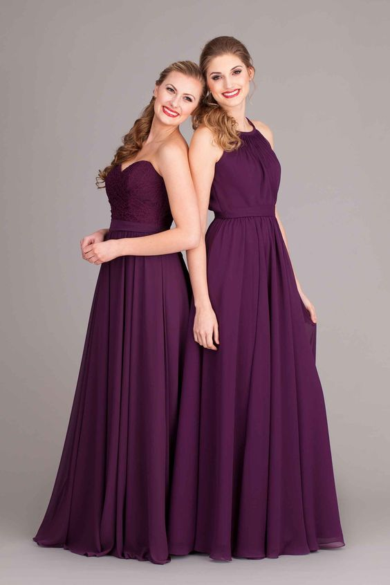 Gorgeous Kennedy Blue bridesmaid dresses! Lace and chiffon bridesmaid dresses in eggplant easy to mix and match!: