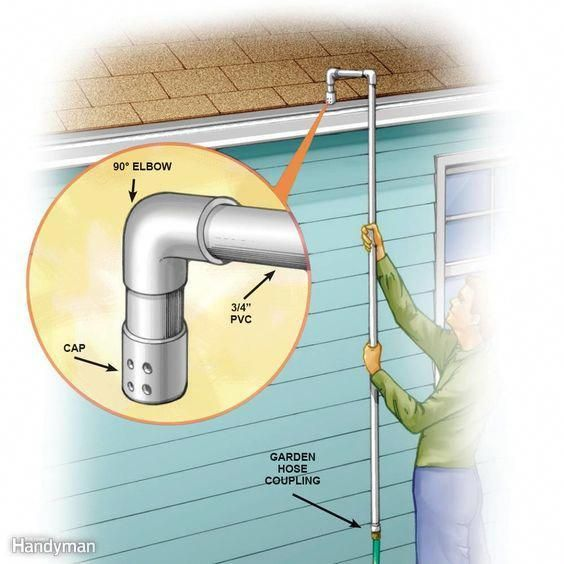 No Ladder Gutter Cleaner This Gutter Cleaner Is Inexpensive Takes About10 Minutes To Make And Will Help Youavoi Pvc Projects Gutter Cleaner Cleaning Gutters