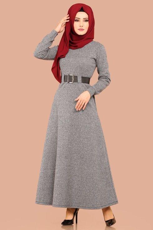 Modaselvim Elbise Baliksirti Desen Kemerli Elbise Ukb3010 Gri The Dress Abaya Tarzi Moda Stilleri