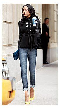 I will take the whole outfit please. ) Peacoat style cape, skinny jeans