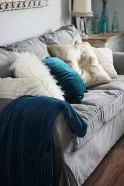 Winter Living Room - eclectic - love the grey couch and teal accents