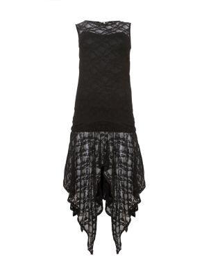 Black Lace Fishtail Dip Hem Dress