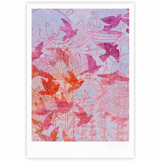 "Marianna Tankelevich ""Bird's Dream"" Lavendar Pink Fine Art Gallery Print"