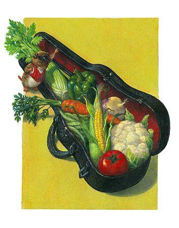 """Vegetables via Vole"" - Letter V - ""Vegetables have vital vitamins!"" said Vole, ""and I've got   a vast variety available in my violin case!"""