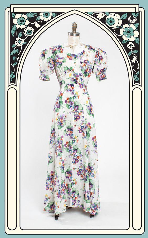 1930s Vibrant Floral Cotton Garden Party Dress