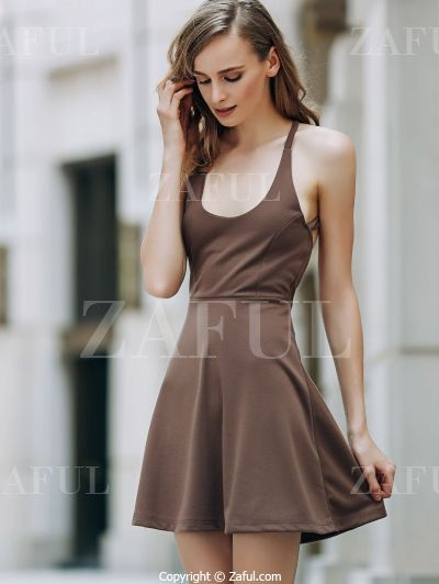 Solid Color Backless Scoop Neck Dress LIGHT BROWN: Dresses 2016 | ZAFUL