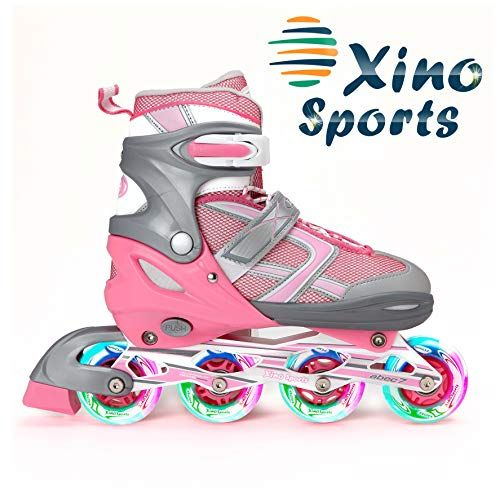 Xino Sports Adjustable Kids Inline Skates for Girls /& Boys with Light Up Wheels Ages 5-20