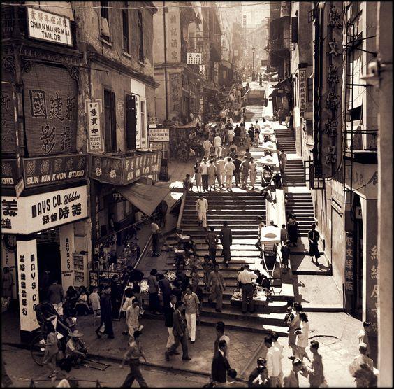 Pedestrians & Vendors On Pottinger Street, A Stepped Street, Central…