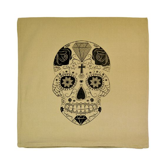 Kussenhoes - Skull Beige/zwart #kussen #kussensloop #woontextiel ...