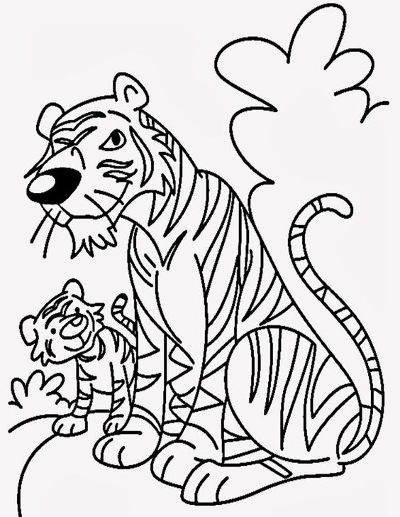 Cartoon Tiger Coloring Pages For Kids - http://www.kidscp ...