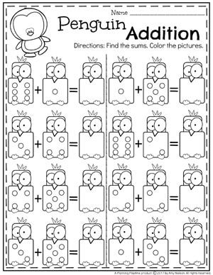Penguin Addition Worksheets For Kindergarten Math Ii Kindergarten Math Games Kindergarten Addition Worksheets Kindergarten Math Worksheets