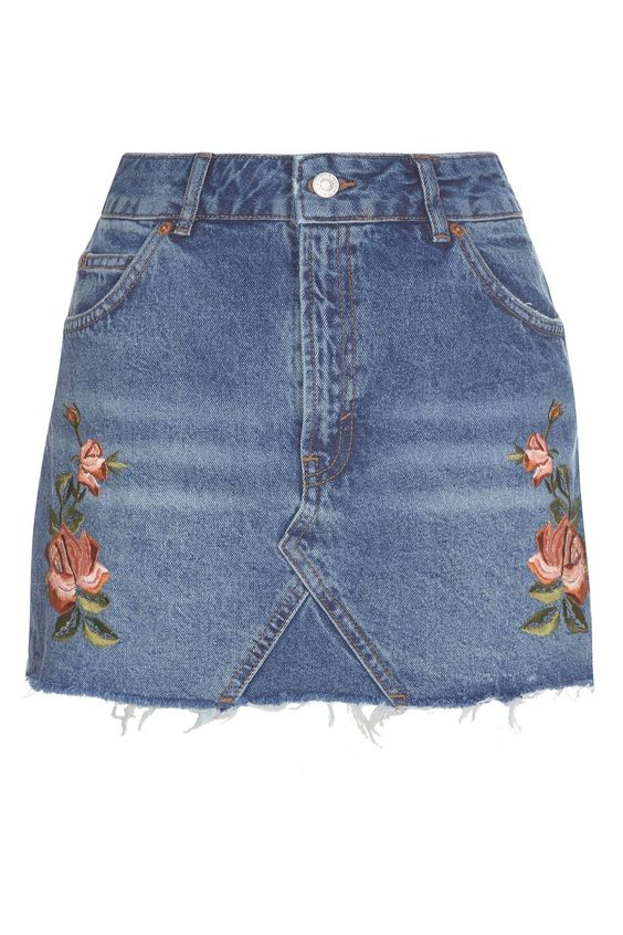 PETITE Rose Embroidered Skirt - Skirts - Clothing - Topshop Europe