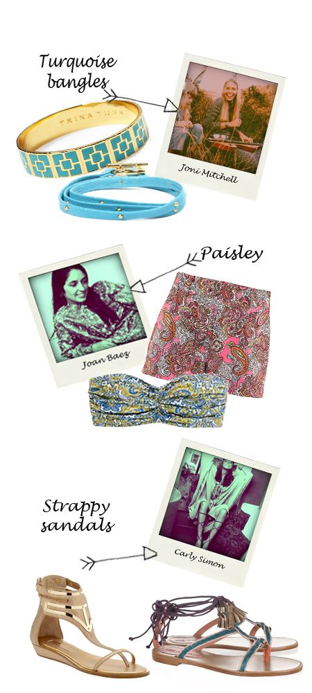 Imitating your favourite musician/singer's style — but with a modern twist. Perfect fashion choices for music festivals. Our personal favourite are the turquoises bangles inspired by Joni Mitchell.