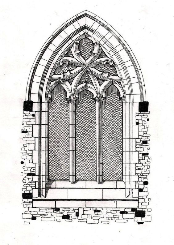 Line Art Architecture : Gothic windows line drawing window by hellluke