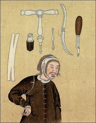 [閲覧注意]江戸時代に書かれた日本画調の人体の解剖図や骨格図いろいろ - 1790年ごろの書物にあった頭蓋骨の穿孔手術のための道具。長崎の出島を通じて入ってきた西洋の医学に関する書物に掲載されていたもの。これらはオランダ語の幕府公式通訳として働くかたわら、西洋式の外科手術を学んだ吉雄耕牛による書です。