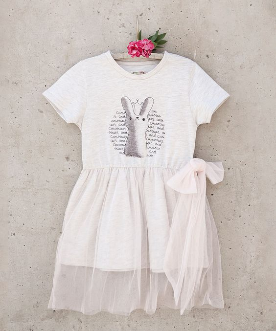 Heather Gray Tulle Overlay Curiouser Dress - Toddler & Girls | zulily