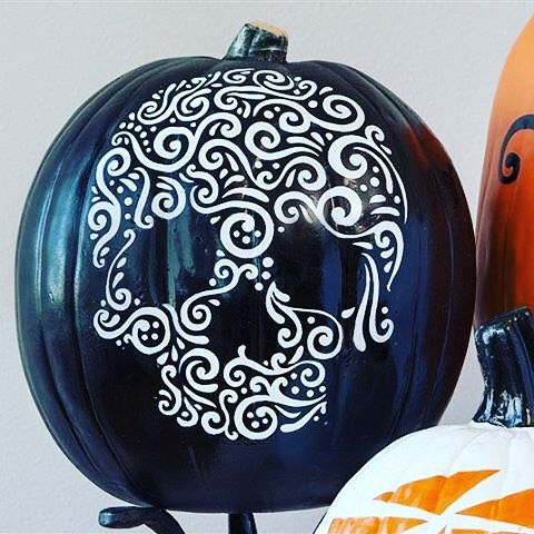 @annarose.johnson makes a good point! It's Labor Day so that means it's officially okay to decorate for Halloween, right? I used one of my favorite #Halloween #Cricut digital images as a stencil to make this awesome sugar skull pumpkin! . . . #CricutMade #falldecor #DIY #stencil #pumpkin #CricutFamily #cricutdesigner ™@annarose.johnson