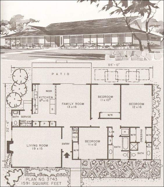 Home modern houses and house plans on pinterest for Mid century ranch house plans