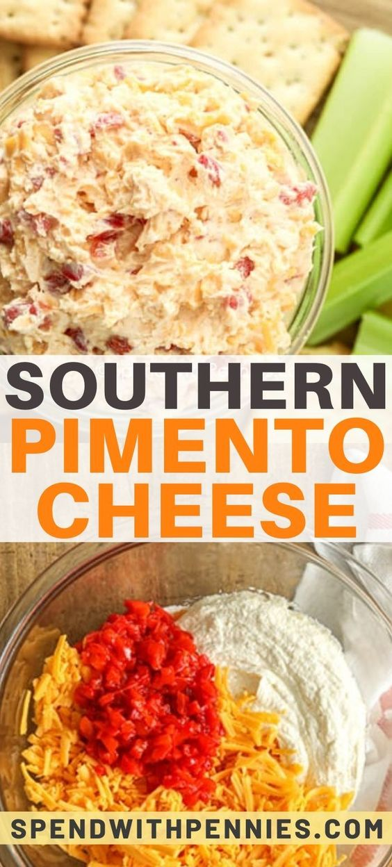 Southern inspired pimento cheese is a perfect dip for parties or try it as a spread on sandwiches.