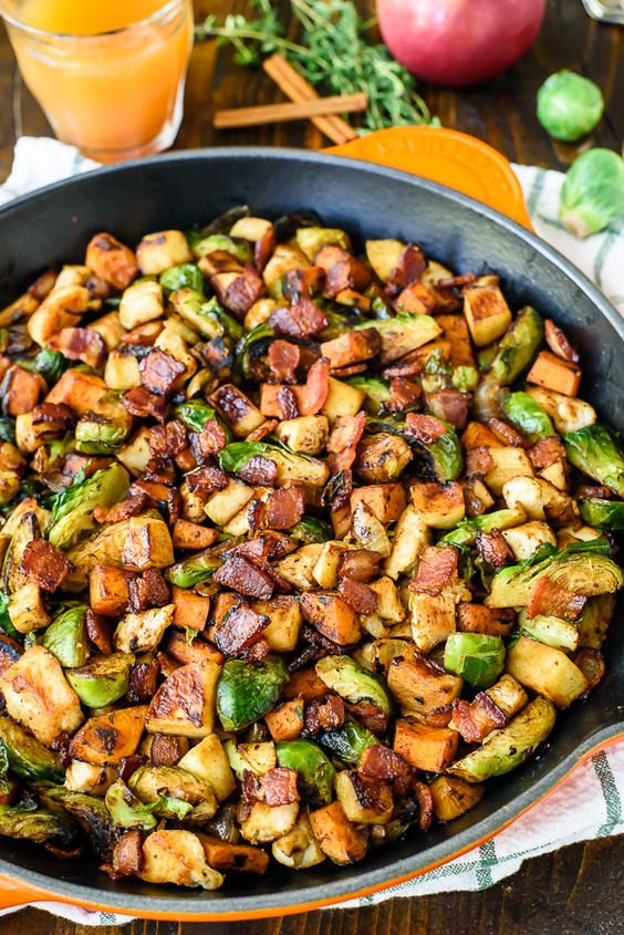 Chicken Apple Sweet Potato Skillet with Bacon and Brussels Sprouts. An easy, healthy one-pan dinner! #recipe:
