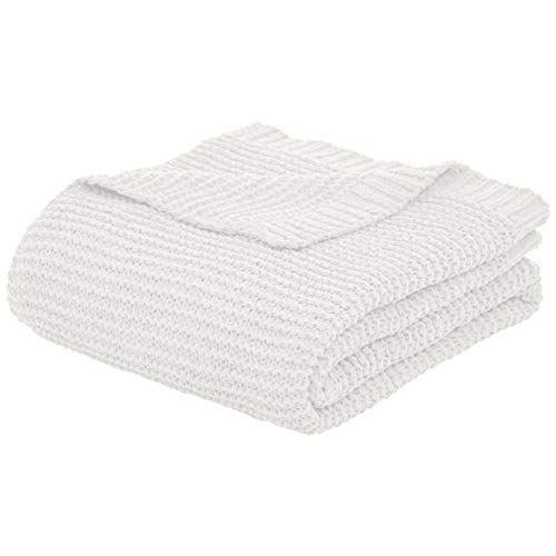 66 x 90 Inches White Basics Cotton Woven Throw Blanket
